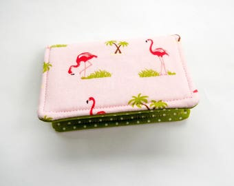 Pink Flamingos Mini Wallet Credit Card Case