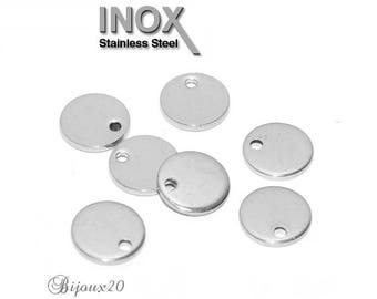 10 charms Sequin 10 mm round stainless steel plate Lot M01860