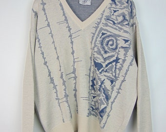 Vintage Cream/Blue Pattern Jumper