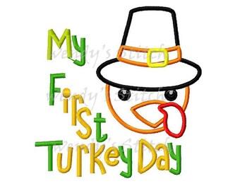 My first turkey day Thanksgiving applique machine embroidery digital design