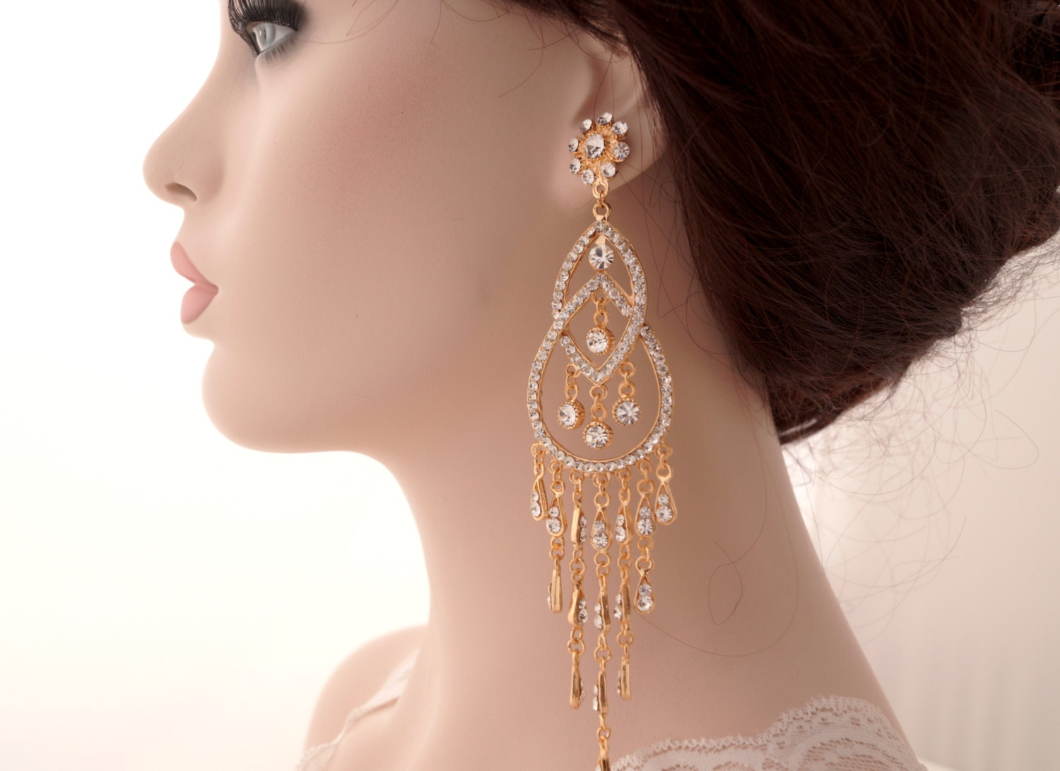Rose gold bridal earringsrose gold art deco chandelier long zoom arubaitofo Image collections