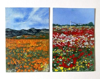Hand-made paintings fields of poppies on cards, miniature paintings on cards