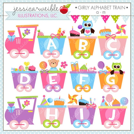 Girly alphabet train a m cute digital clipart for commercial altavistaventures Images