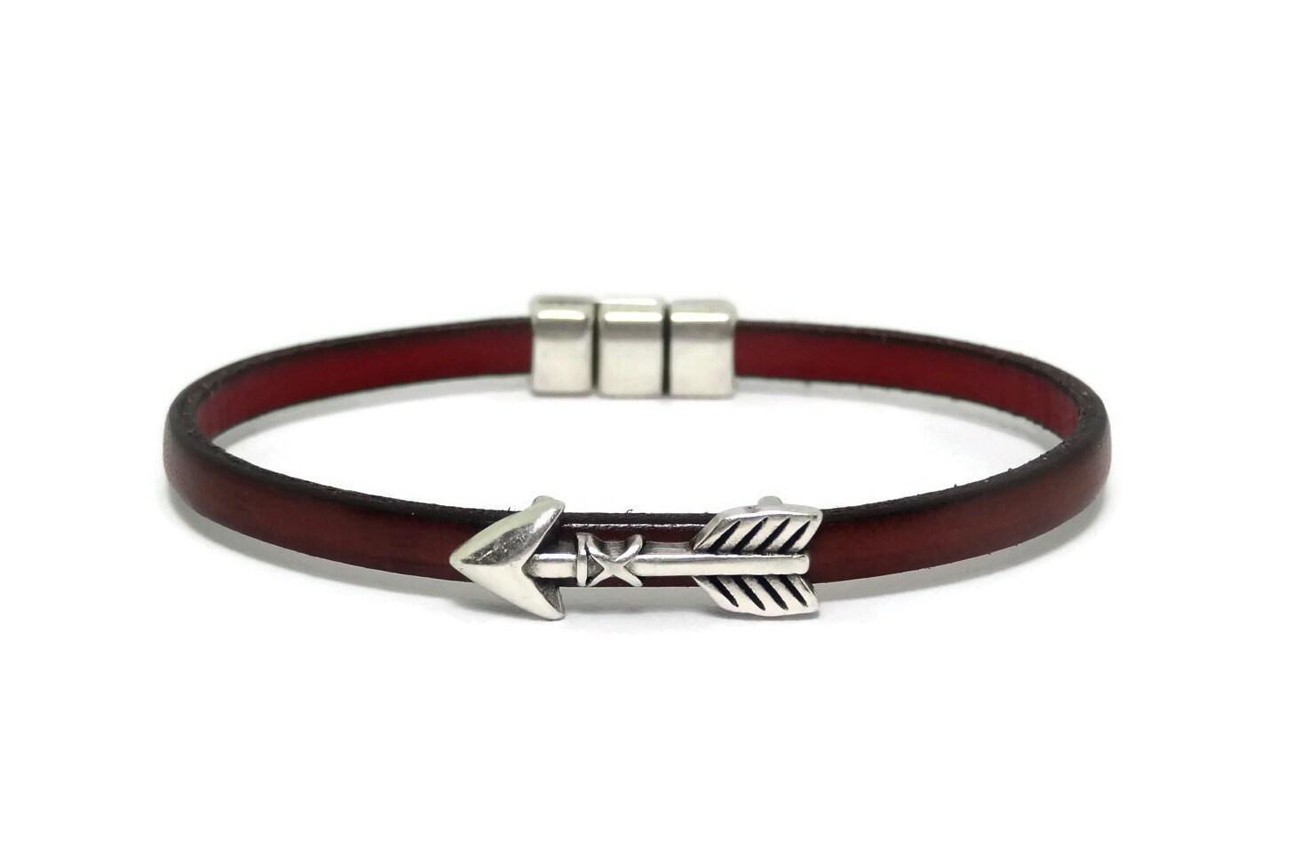 Men Leather Bracelet Mens Jewelry Arrow Bracelet Leather Bracelet