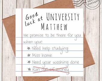 Personalised Good Luck at University - Greetings Card