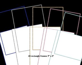 92 Glitter Rectangle & Square Frames | 23 Colors | Digital Clipart Instant Download
