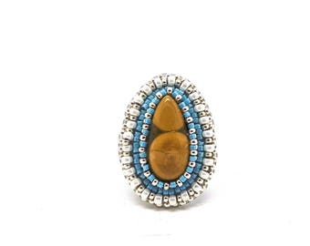 Ring Tiger eye and beads embroidery