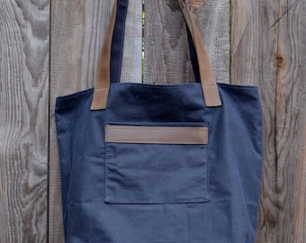 Navy Waxed Canvas Tote Bag with Leather Straps and One Front Pockets