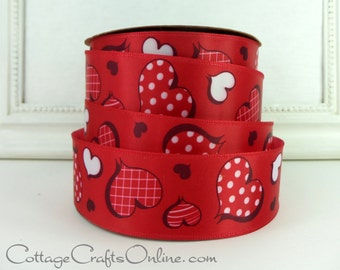 "Valentine Wired Ribbon, 1 1/2"" wide Red Heart Print Satin, TEN YARD ROLL, Offray ""Valentine Plaid Heart"" Wire Edged Valentine Ribbon"