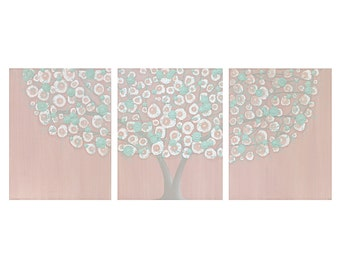 Pink and Teal Shabby Chic Wall Decor for Baby Girl Nursery Canvas Tree Art - Textured Painting Triptych - Large 50x20