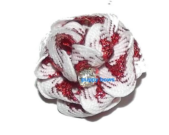 Puppy Bows ~ tiny RED/WHITE metallic pet hair puffs rhinestone center dog topknot (fb71)