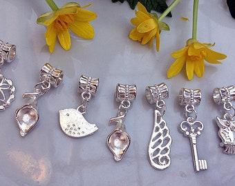 8 pcs of pendants, Set of pendants, Silver color, Pandora Style, Silver pendants, Handmade pendants, Bright pendants