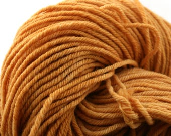 Hand Dyed Aran weight mini Empire Rambouillet Wool 213 yds 4oz Persimmon