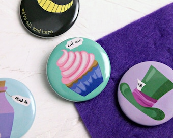 Alice in Wonderland Badges, Alice in Wonderland Pins, Cheshire Cat, Drink Me, Eat Me, Alice in Wonderland, Gift for her, Stocking Fillers