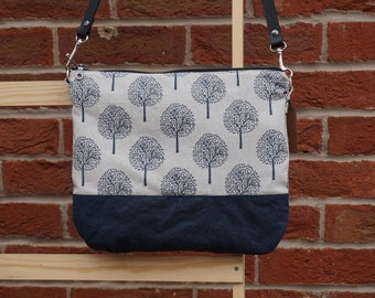 Simple Shoulder Bag -Trees Crossbody Bag - Navy Blue Everyday Bag - Waxed Canvas Bag - style: LILLY