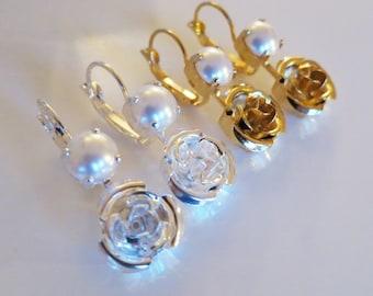 Gift Idea for Mom,Rose Pearl Earrings,Bridal Pear Earring,Cream White Swarovski pearls,Gift,Feminine Style,Silver Gold,Bridal Pearl Jewelry