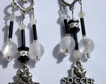 Earrings SOCCER LOVERS style to choose from chandelier, drop, black white CHOOSE