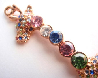 1 Giraffe Pendant, Jewelry Making Supply, Mulit color Imitation Austrian Crystal Rhinestones, set in Rose Gold Color Plated Brass