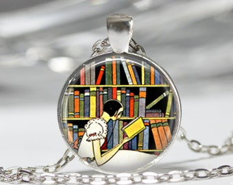 Librarian Necklace Book Jewelry Reading Bibliophile Library Art Pendant in Bronze or Silver with Link Chain Included
