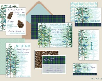 Rustic Pine/Winter/Watercolor/WEDDING INVITATIONS-Pinecone/Evergreen/Plaid/Tartan Plaid/Mountain/Woodland/Forest/Ski Mountain
