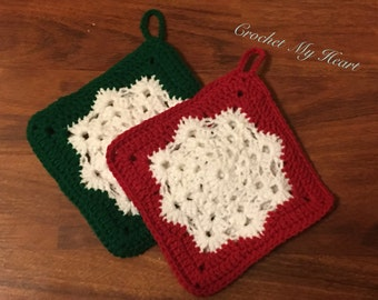 Red and Green Snowflake Hot Pad, Pot Holders