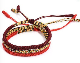 Lucky Handmade Buddhist Knot Rope Bracelets in 3 Colours