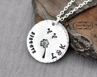 Dandelion Necklace Silver Personalized hand stamped Necklace, big sis, little sis, lil sis, sisters jewelry,make a wish, initials, monogram