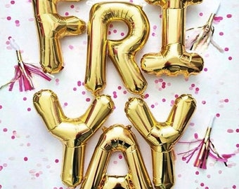 """FRIYAY Letter Balloons   16"""" Gold Letter Balloons   Metallic Letter Balloons   Gold Party Decorations"""