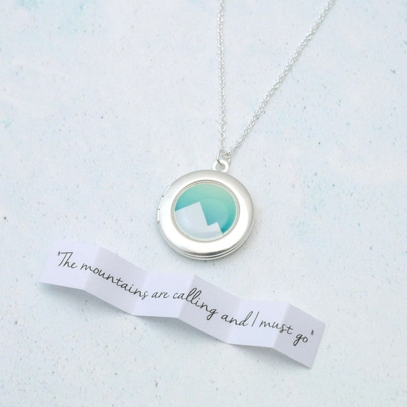 Personalised Geometric Mountain Locket
