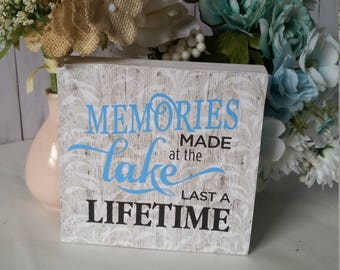 Lake house sign,lake house decor, lake life, lake sign, lake house decorations, memories made at the lake  last a lifetime