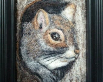 """Squirrel 5"""" x 7"""" Needle Felting framed to 6"""" x 8"""", Ready to Ship"""