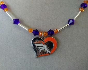 Denver Broncos Swarovski Crystal Necklace