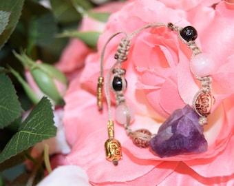 Amethyst w/ Rose Quartz Buddha Bracelet. Raw Metaphysical Charm, Gold Buddha, Raw Crystal Bracelet
