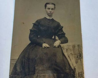 Antique Tintype Woman Sitting with Arm on Table.