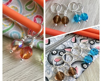 Cable Stitch Markers, Beaded Stitch Marker, Stitch Markers for Knitting, Knitting Accessories, Craft Supplies, Knitters Gift, Knitting Tools