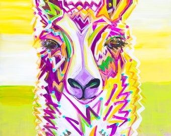 Llama I - Colorful Abstract Art - Paper Print