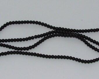 50 glass Pearl diameter 3mm black beads