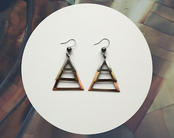 Pendant earrings, metal earrings, copper earrings, brass, steel, triangular shape