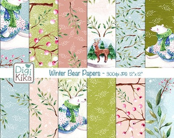 Winter Bear Digital Papers, Winter, Polar Bear, Snow, Snow Globe, Deer, Seasonal, Watercolor papers, Hand Painted - INSTANT DOWNLOAD