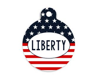 Patriotic Pet ID Tag, Stars and Stripes Round Cat Id Tag, 4th of July Pet Tag, Independence Day Name Tag, Custom Fourth of July Dog Tag