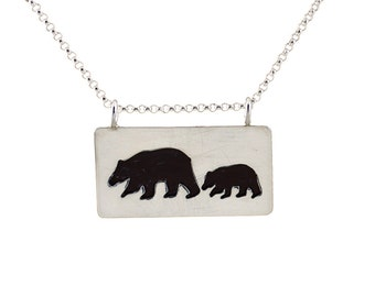 Mama bear necklace -  bear and the cub necklace -  woodland necklace -  mother daughter jewelry
