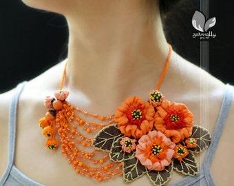 Flowery Asymmetrical Orange Necklace   Sculpture   Orange Blossoms   Fiber Art   Wearable Art