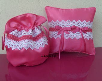 Pink bag pouch and pillow in satin