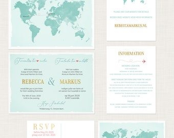 Destination wedding invitation Bilingual RSVP - Two Countries, Two Hearts One Love English-Dutch DEPOSIT Payment