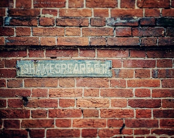 Graduation Gift, Teacher Gift, Shakespeare Street, Baltimore Print or Canvas Art, Fell's Point Maryland Picture, Rustic Home Decor.