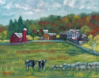 Hint of fall, original art, oil painting, fall art, landscape, americana