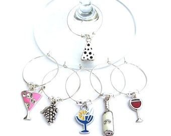 6 drink themed wine charms, enameled wine glass charm rings, wine accessories, entertainment barware, bridal shower gift, hostess gift