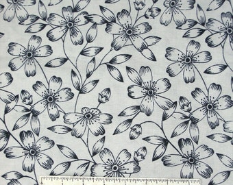 Floral Fabric - Black Flower Outline on Graphite Gray - Dear Stella Cotton YARD