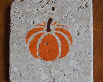 Painted Pumpkin Stone Coasters (Set of 4)