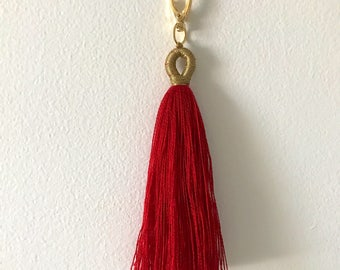 Cherry Red and Gold Handmade Tassel Keychain or Purse Charm